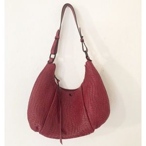 Elliott Lucca Cranberry Zipper Satchel Handbag